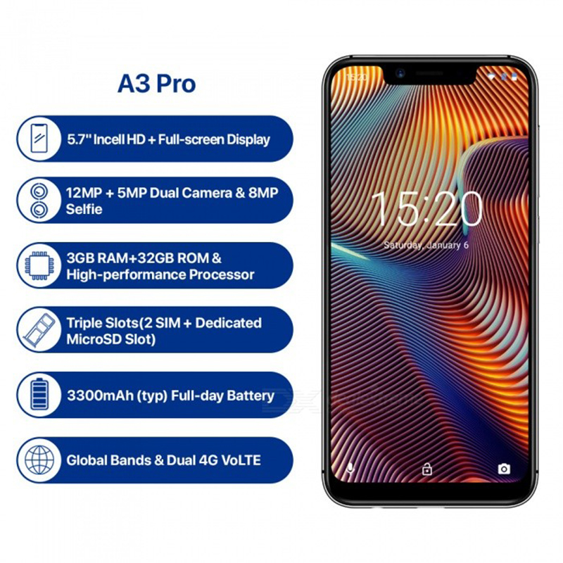 Image 2 - UMIDIGI A3 Pro Globale Della Fascia 5.7 FullScreen Smartphone 3GB+32GB Quad Core Android 8.1 12MP+5MP Unlock Mobile phone-in Cellphones from Cellphones & Telecommunications