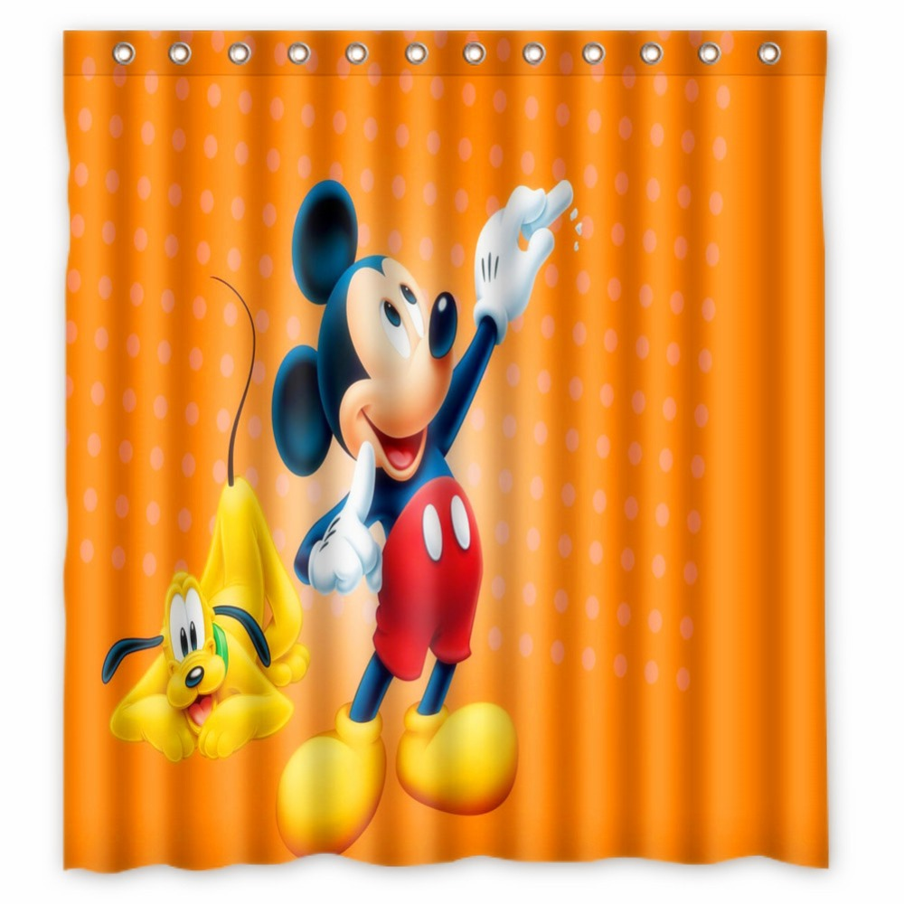 Vixm Home Mickey Mouse Fabric Shower Curtains Customized Chinese Bathroom With Hooks 66x72 Inch In From Garden On