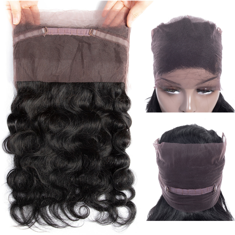 Closure Brazilian Human-Hair Lace-Frontal Free-Part Body-Wave Pre-Plucked 360 with 100%Remy