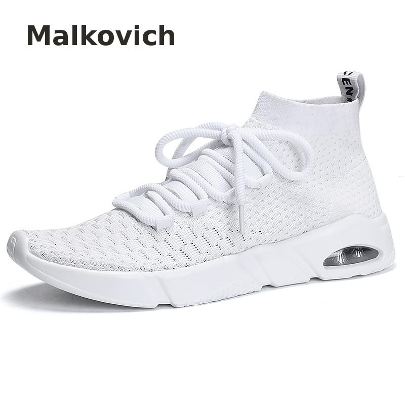 Men Casual Shoes 2018 New Breathable Fashion Knitting Upper Sock Designer Zapatillas Hombre Walking Fashion Flats Shoes Male