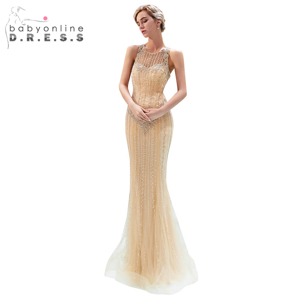 Illusion Beading Crystal Long   Prom     Dresses   2019 Sexy Backless Mermaid   Prom   Gown Custom Make Size Party   Dress   Vestido De Festa