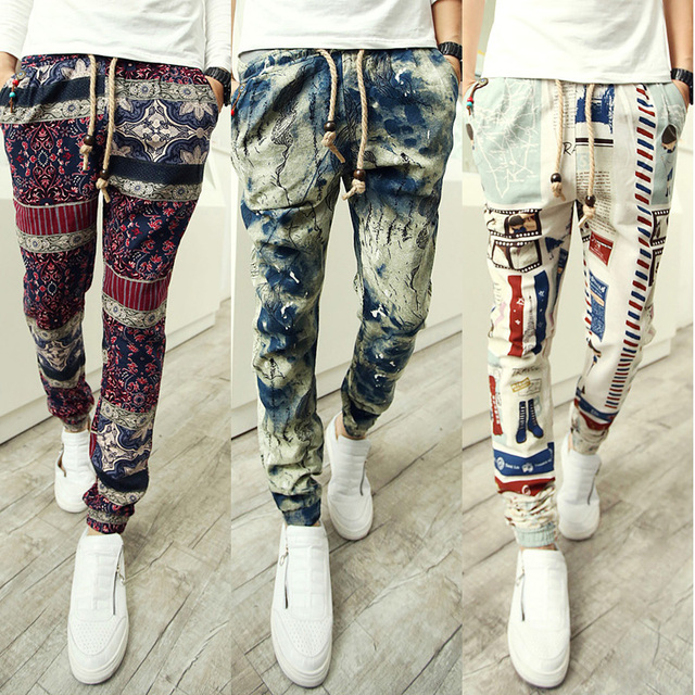 Nueva primavera hombres moda impreso harem pants hip hop hombres Parte Inferior del manguito Gota Entrepierna Pantalones Night Club Pantalones Casuales Para hombres