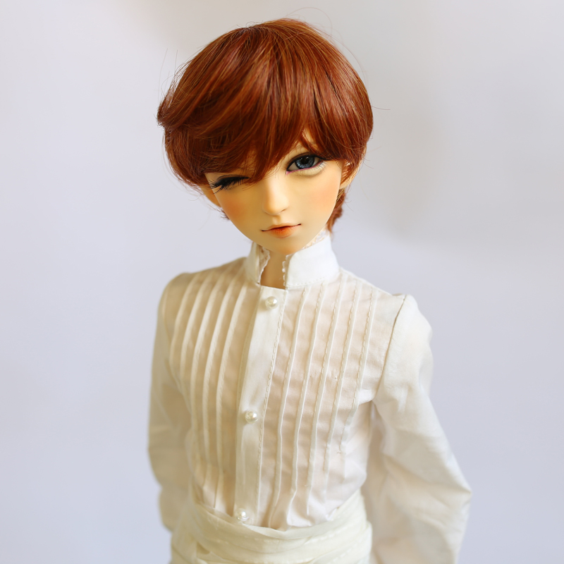BJD Doll Wig Male female Short Hair High Temperature Silk Brown color short hair for doll head size at 22-2cm