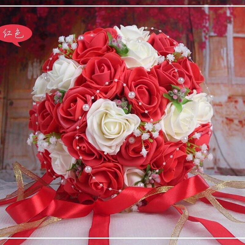 2019 Vackra Handgjorda Blommor Dekorativa Konstgjorda Rose Blommor - Bröllopstillbehör - Foto 6