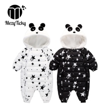 Winter youngsters's clothes infants women panda Hooded one-piece romper Plus velvet heat Thicken new child child boys cotton garments