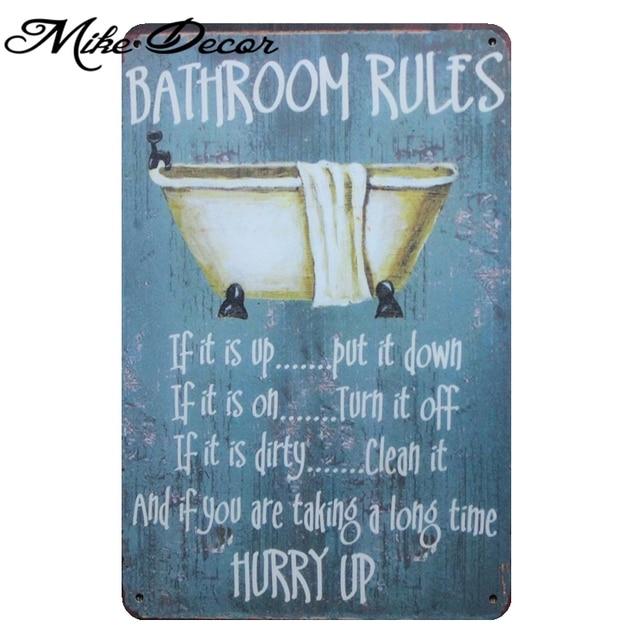 Mike86 Bathroom Rule Metal Signs Retro Art Wall Painting Room Decor Home Vintage Funny