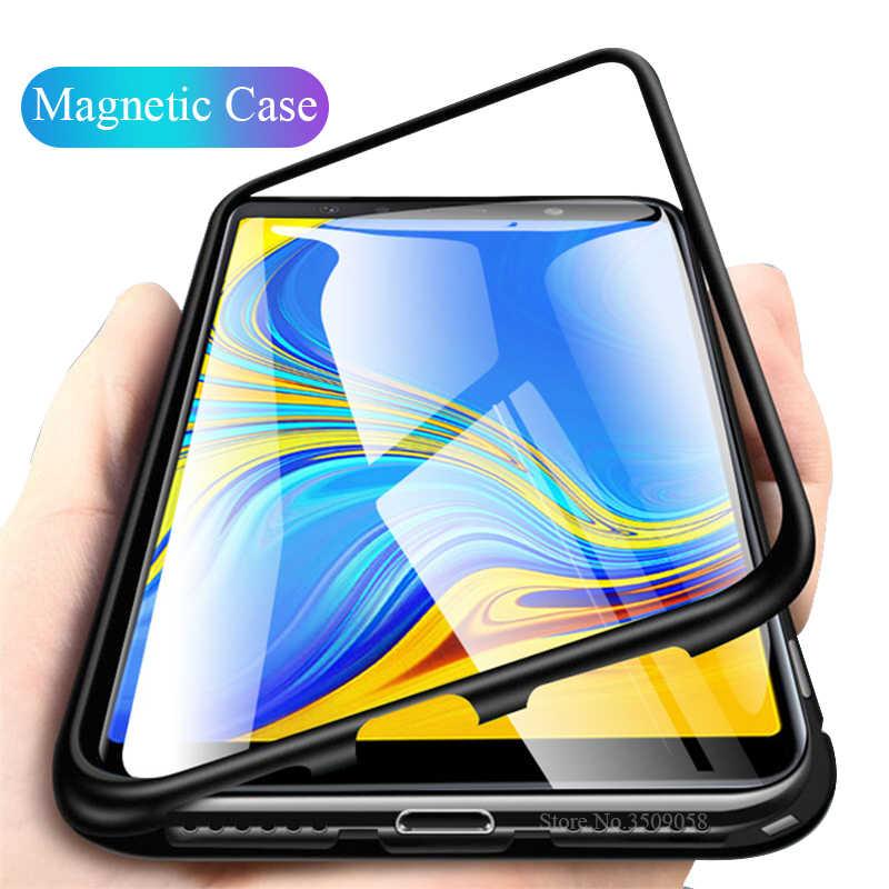 磁気フリップケースのための samsung 銀河 j4 j6 プラス j8 A7 A9 2018 A750 強化ガラス裏表紙メタルフレーム保護 coque シェル