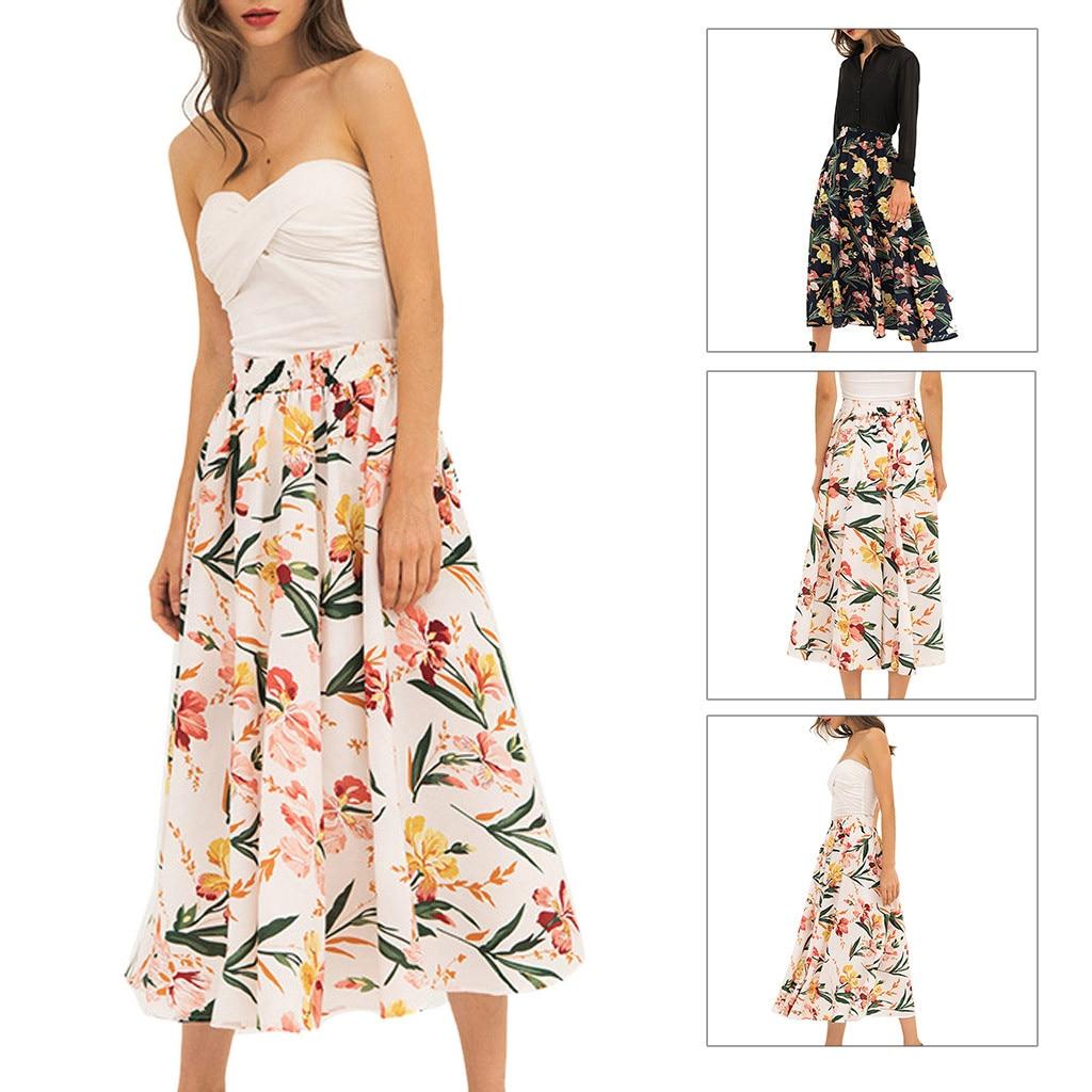 Fashion Summer Woman Lady Bohemian Printed Flexible High Waist A-Shaped Wild Party Daily Casual Beach Skirt 50