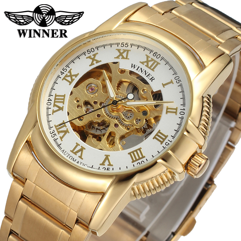 New Business Watches Men Factory Shop Top Quality gold Automatic Men Watch stainless steel Free Shipping WRG8072M4G2