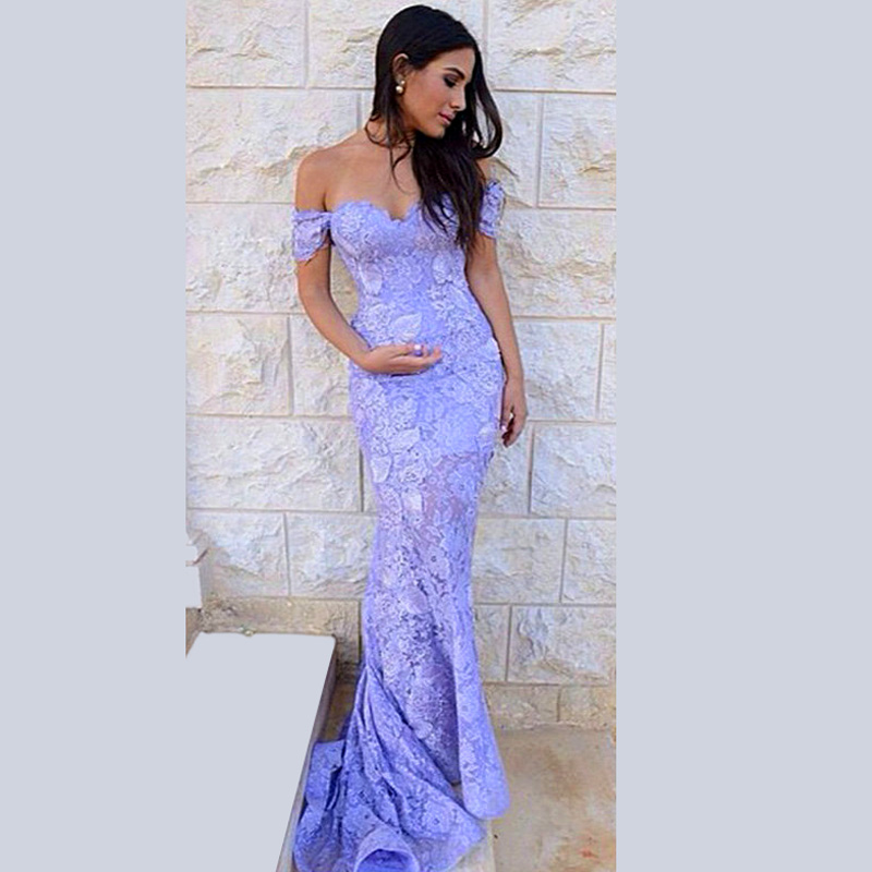Sexy Off Shoulder Lavender Floor Length Fitted Mermaid Lace Prom