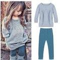 2016 Primavera y Otoño nuevas Niñas conjunto ropa pantalones de manga larga + 2 unids bebé ropa de niña Adolescente conjunto venta al por mayor