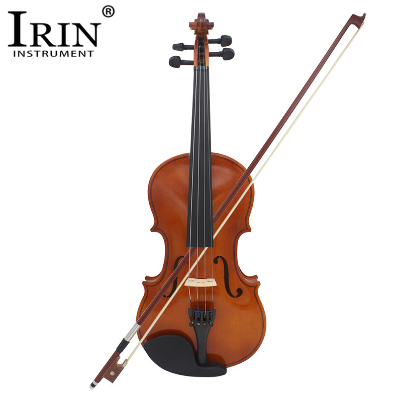 IRIN Natural Acoustic Violin Fiddle-Craft Case Bow-Strings Mute Full-Size with for Beiginner