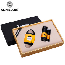 CIGARLOONG Cigar Ashtray Sets Large capacity ashtray with portable cigar cutter and lighter christmas Gift luxury HT-0321