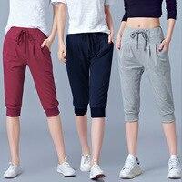 Calças Stretch de Cintura alta Mulheres Verão Bezerro Comprimento Harem Pants tamanho Grande 5xl 6XL Casual Calças Corredores Sweatpants Capri feminino