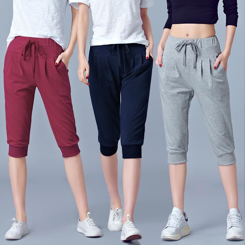 High Waist Stretch Pants Women Summer Calf Length Harem Pants Large size 5xl 6XL Casual Trouser Joggers Sweatpants Capri female