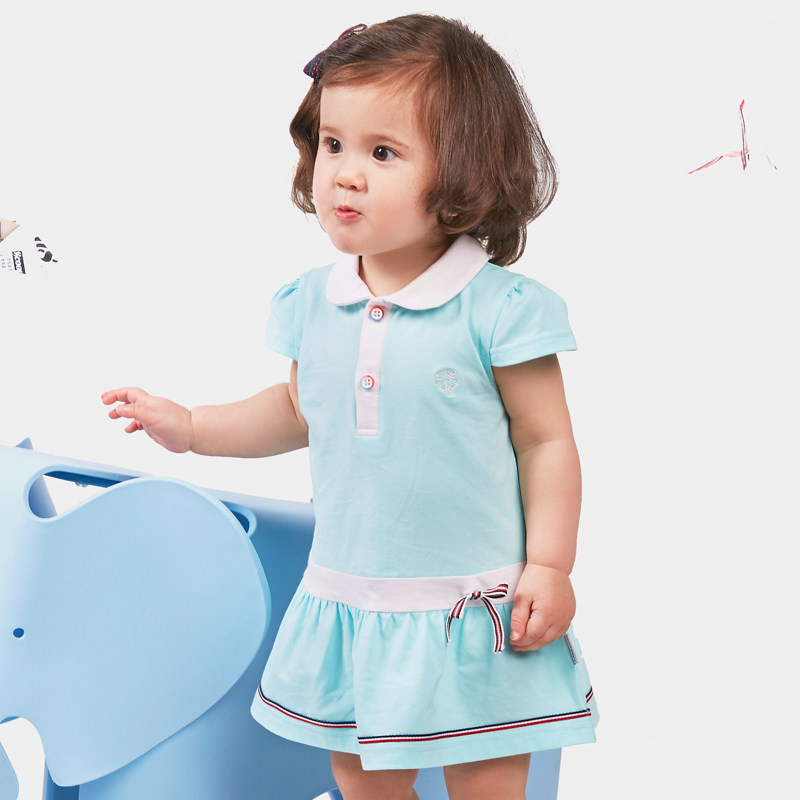 2016 Fashion Baby Girl Clothes Princess Dress Aqua Super Cute Dress For New Born Baby 1 Year Old Birthday Party Dress Bulk Sale