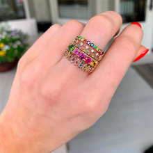 Molinuo round cz eternity band engagement ring colorful cubic zirconia Gold color trendy fashion women stacking diy finger rings newbark new one stacking ring set including 7pcs round rings nondetachable inlaid cz stone classic fashion women jewelry