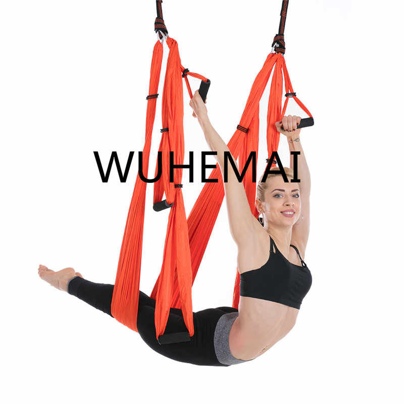 WUHEMAI Anti-gravity Yoga Hammock Swing ผ้าร่มชูชีพ Inversion Therapy สูง Decompression Hammock โยคะแขวน