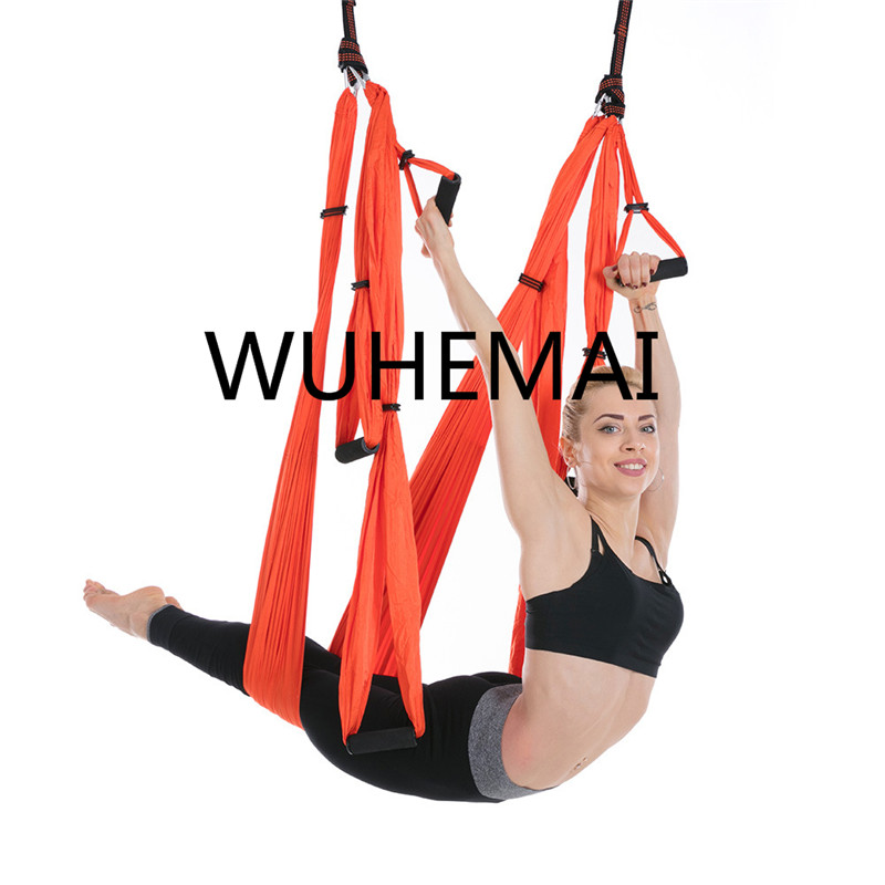 WUHEMAI Anti-gravity Yoga Hammock Swing  Parachute Fabric Inversion Therapy High Strength Decompression Hammock Yoga Gym Hanging