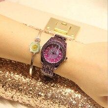 купить New Luxury Rhinestone Bracelet Watch Women Diamond Fashion Ladies Rose Gold Dress Watch Stainless Steel Crystal Wristwatch Clock по цене 1102.02 рублей