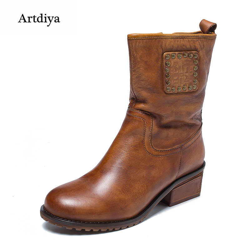 Artdiya Original Autumn and Winter New Genuine Leather Women Boots Handmade Round Toe Rivet Retro Calf Boots 58533-6 цены онлайн