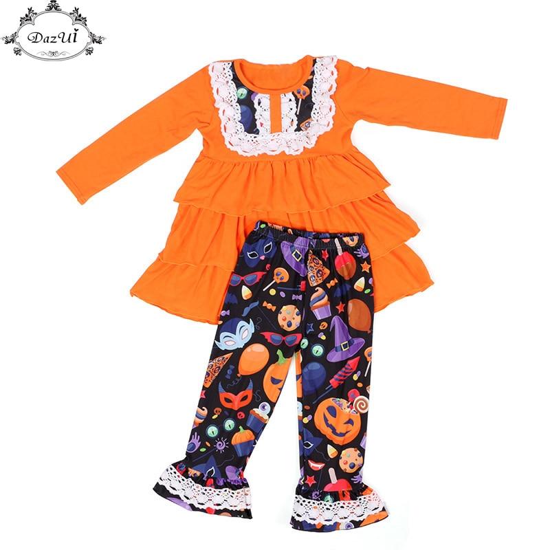 Halloween Girls Clothes Long Sleeve Ruffle Girls Girls Lace Trim Ruffle Pants Girls Clothing Set Autumn Pumpkin Toddler Set