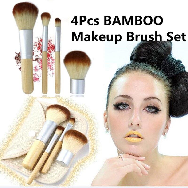 2017 4PCS Natural Bamboo Handle Makeup Brushes Set Maquiagem Cosmetics Kit Powder Foundation Blush Brushes Facial Makeup Tool