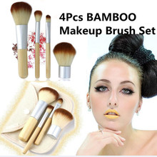 2017 QUENTE!! 4 PCS Natural Bamboo Handle Pincéis de Maquiagem Conjunto de Cosméticos Kit Tools Blush Em Pó Brushes