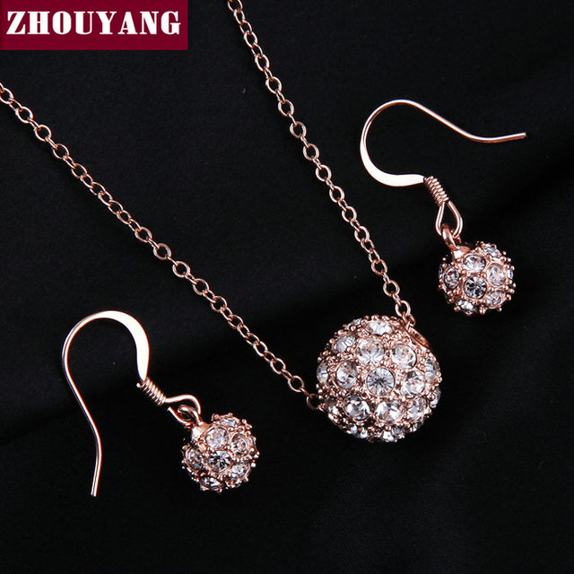 Top Quality ZYS095 Crystal Ball Set Rose Gold Color Jewelry Necklace  Earring Set Rhinestone Made with Austrian Crystals 06abc4932255