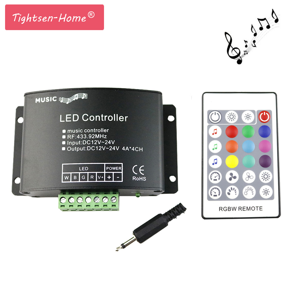 RGBW Music LED Controller DC12V-24V 4A*4CH 24 Keys RF Remote Sound Sensor Voice Audio Control For 3528 5050 RGBW LED Strip Light dc12v 24v led rgb rgbw amplifier aluminum 24a 3ch 4ch led controller for 5050 3528 led strip light tape power repeater console