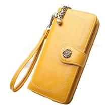 Vintage Button Phone Purses Women Wallets Female Purse Leather Brand Retro Ladies long Zipper women's wallet Card Clutch 217