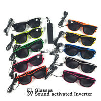 Hot Sale Christmas Flash Products 10pieces EL Wire Flash Glasses Dark Lens Powered By 2 AAA