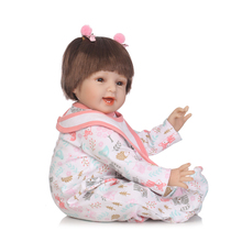 22 inch 55cm NPK Doll Girl Realistic Silicone Reborn Baby Short Hair Doll Head Lifelike Newborn Baby Doll Clothes Birthday Gifts keiumi real 22 inch newborn baby doll cloth body realistic lovely baby doll toy for children s day kid christmas xmas gifts