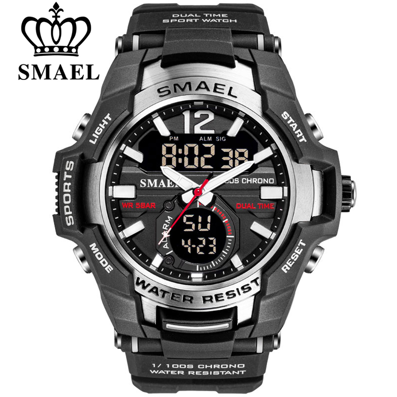 SMAEL 2019 Men Watches Fashion Sport Super Cool Quartz LED Digital Watch 50M Waterproof Wristwatch Men's Clock Relogio Masculino(China)