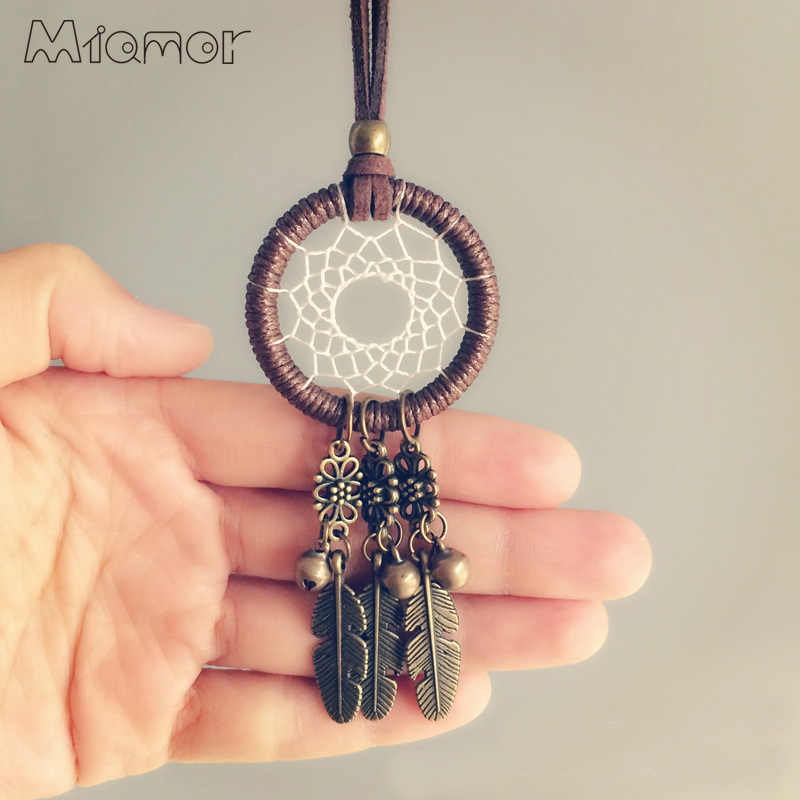 MIAMOR New Fashion Vintage Mini Dreamcatcher Handmade Dream Catcher Necklace Gift For Girlfriend Decoration Ornament AmorNC005