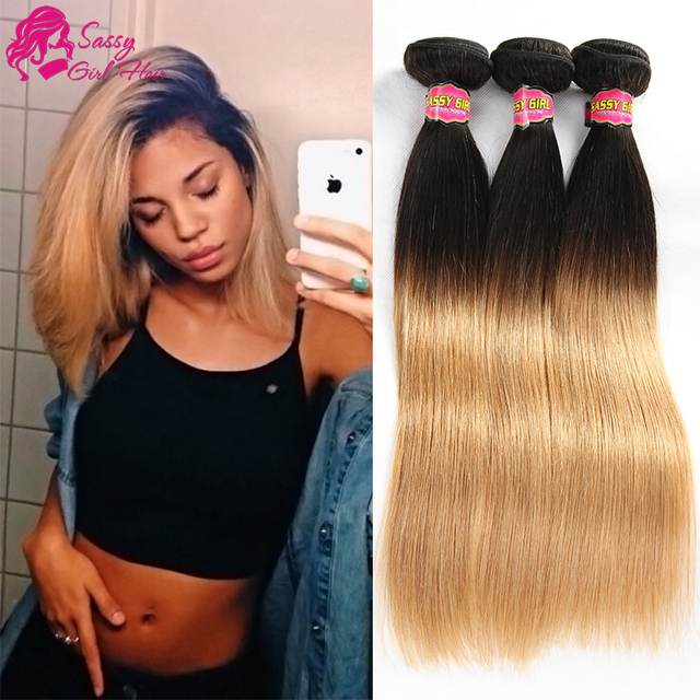 Ombre Brazilian Hair Straight 2 Tone Human Hair Extensions Blonde