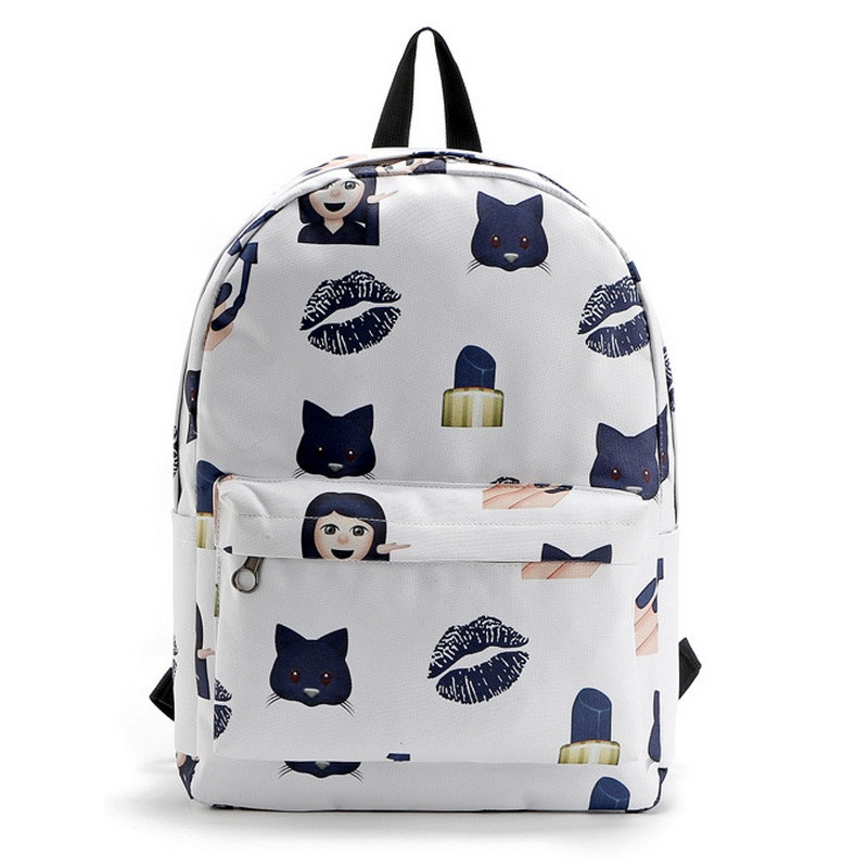 Emoji Nail Women Oxford Backpack Teenage Girl School Bags Cat Lips Cartoon Printing Lady Cute Preppy Style Sack Mochila Book Bag