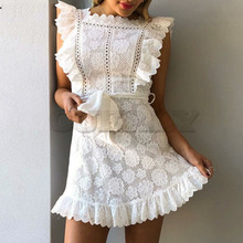 Cuerly Elegant party ruffle short white lace dress women Summer sashes floral female Sexy beach casual vestidos L5