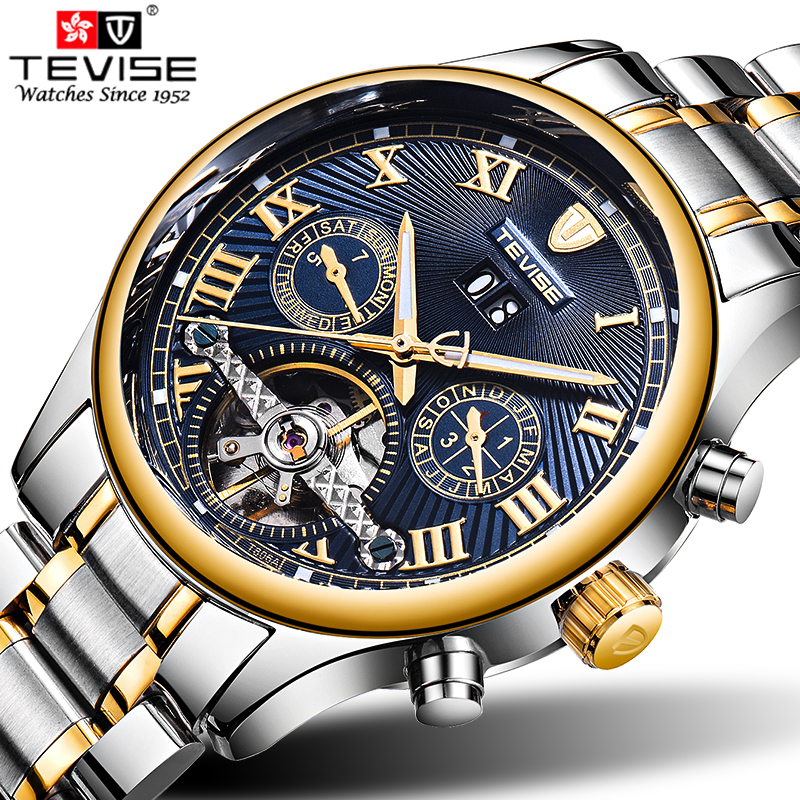 Genuine Luxury TEVISE Brand Men Self-wind waterproof full steel automatic mechanical male Tourbillon fashion watch kinyued brand men self wind waterproof stainless steel strap automatic mechanical male black dial fashion tourbillon watch