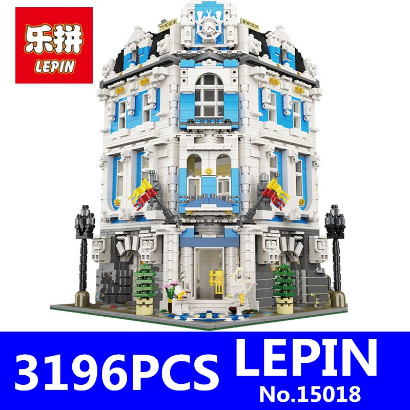 LEPIN 15018 3196pcs MOC Creator City Series The Sunshine Hotel Set Educational Building Blocks Bricks Toys for Children Gift lepin 02006 815pcs city police series the prison island set building blocks bricks educational toys for children gift legoings