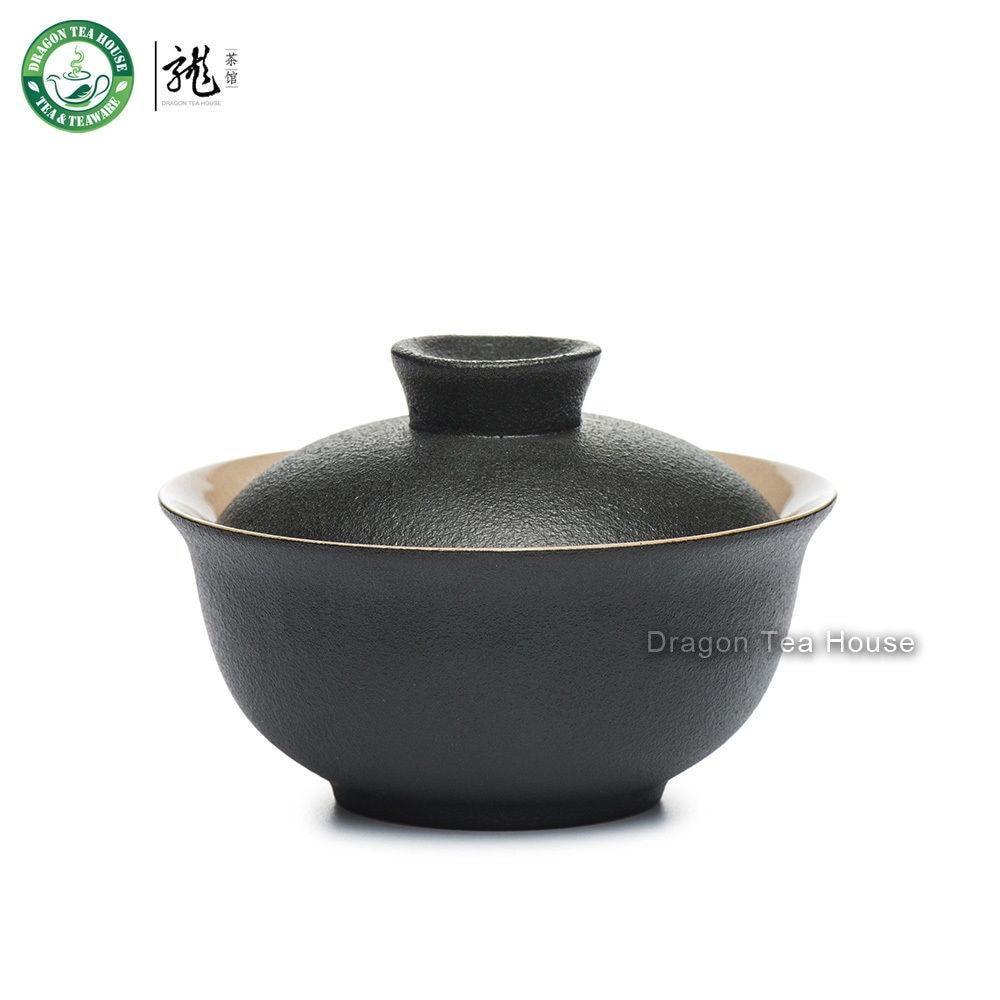 Black Zen Ceramic Chinese Gongfu Tea Lided Cup Gaiwan Brewing Teacup 100ml 3.4oz