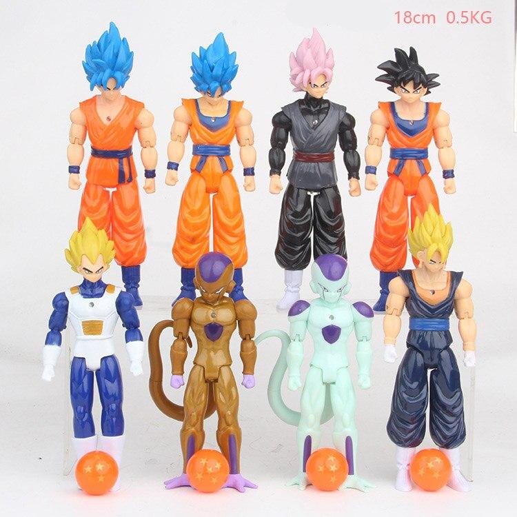 Dragon Ball Son Goku Vegeta Frieza Buu 8PCS Action Figure Toy Doll Gift For Kids