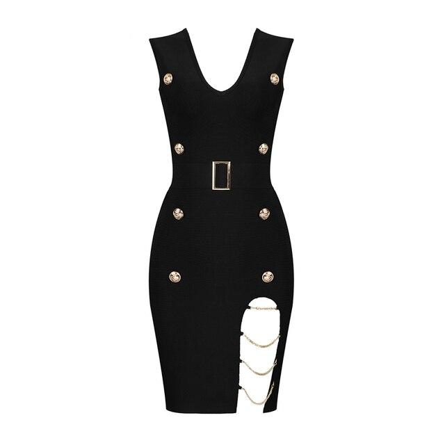 Vestidos Summer Dress Women Sexy Hollow Out Button Black Bandage Dress Women Vesitidos Rayon Bodycon Mini Party Dress 5