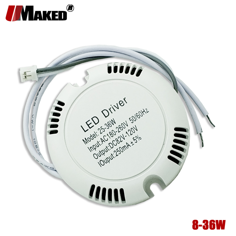 2pcs 250mA 25-36w 8-25W LED Driver Ceiling Driver 220v Round Box Driver Lighting Transformer For LED Downlight Ceilinglight DIY