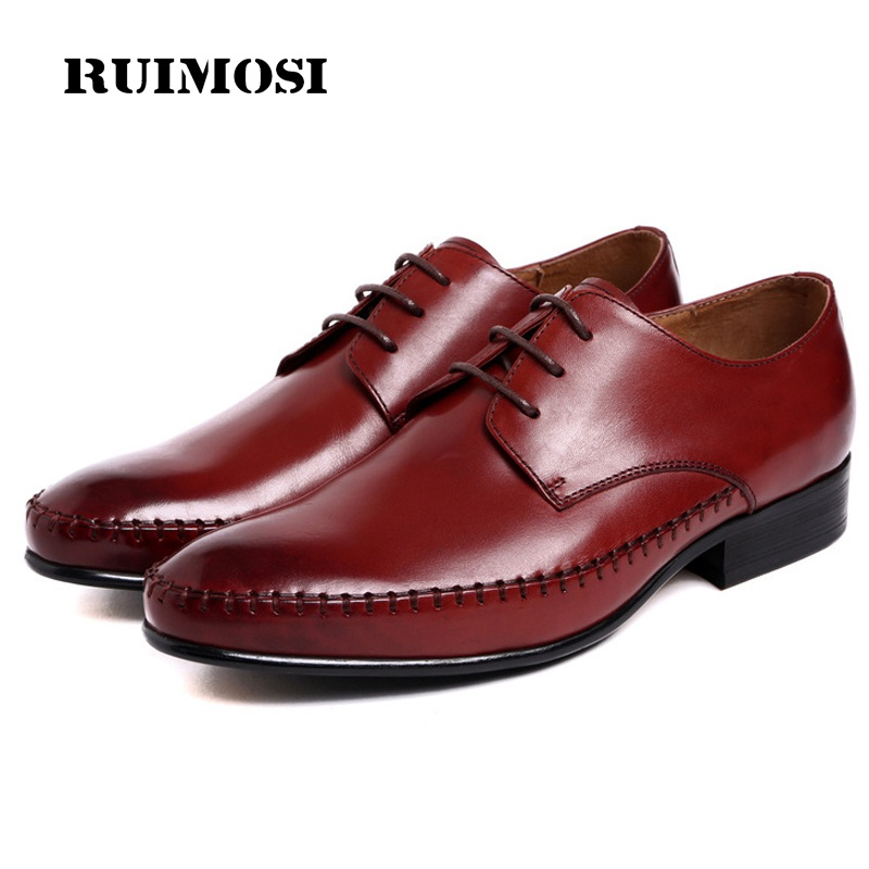 RUIMOSI Handmade Formal Man Bridal Dress Shoes Genuine Leather Wedding Oxfords Luxury Brand Round Toe Derby Men's Footwear WD79
