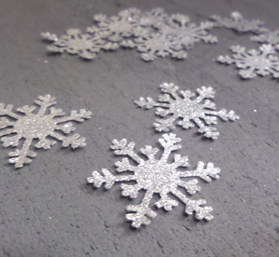 silver glitter snowflake confetti winter wedding table scatters christmas bridal shower bachelorette party decorations
