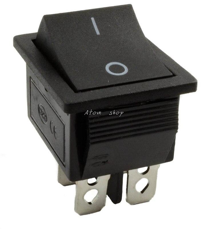 KCD4 1 шт. с подсветкой большой ВКЛ-ВЫКЛ 4-контактный кулисный переключатель-красные, синие зеленый желтый 20A 125VAC 16A 250VAC - Цвет: Цвет: желтый