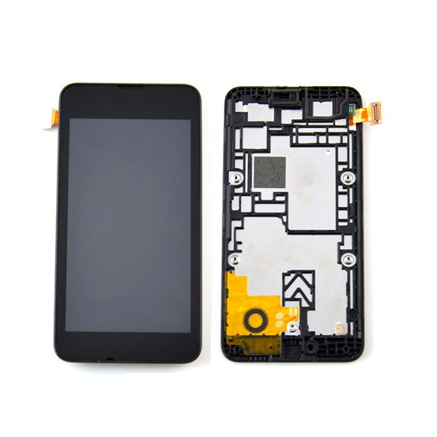 TOP Quality Black New Glass LCD Display Touch Screen Digitizer Assembly+ Frame For Nokia Lumia 530 Smartphone Parts