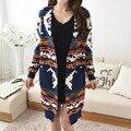2016 осень новый женский кардиган свитер Корейской версии длинный участок моды национального ветра заклинание цвет вязать свитер пальто