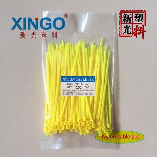 Fil de Nylon à verrouillage automatique   100 pièces/sac 8 couleurs 2.5mm x 100mm 2.5mm * 100mm câble à fermeture éclair cravates câble de serrage blanc noir organisateur